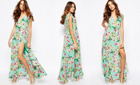 asos wedding floreal long silk dress